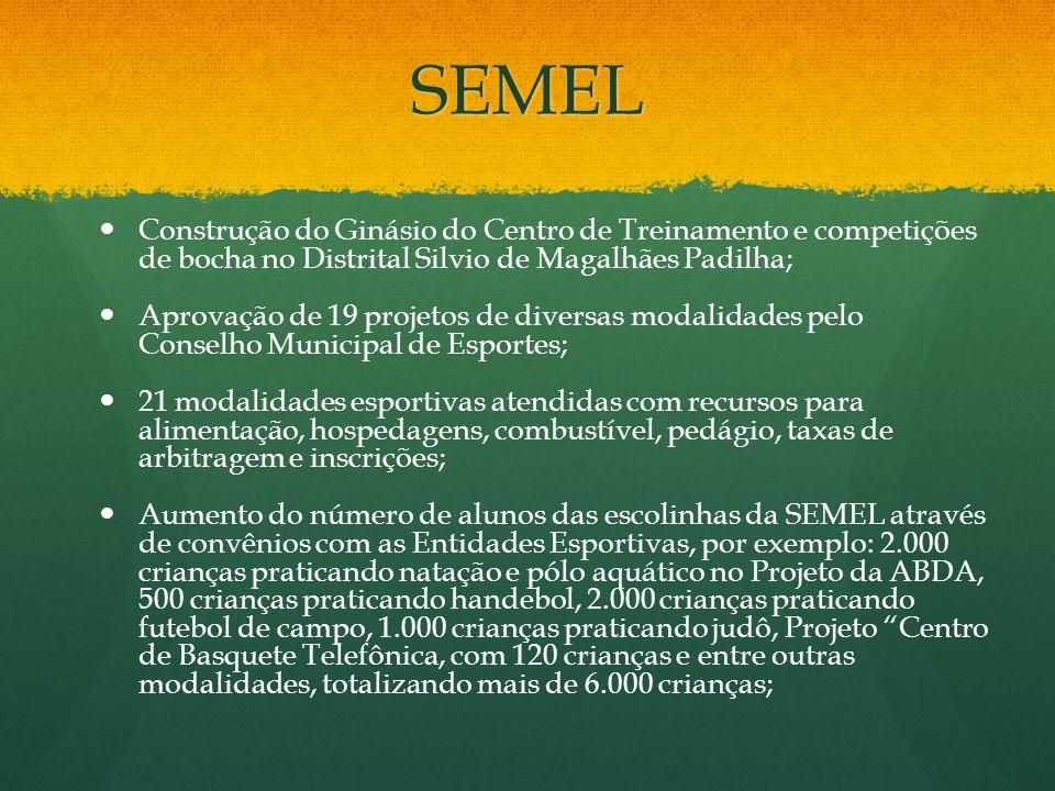 SEMEL Construção do Ginásio do Centro de Treinamento e competições de bocha no Distrital Silvio de Magalhães Padilha;