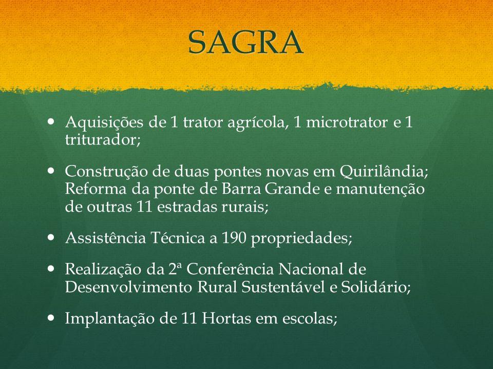 SAGRA Aquisições de 1 trator agrícola, 1 microtrator e 1 triturador;