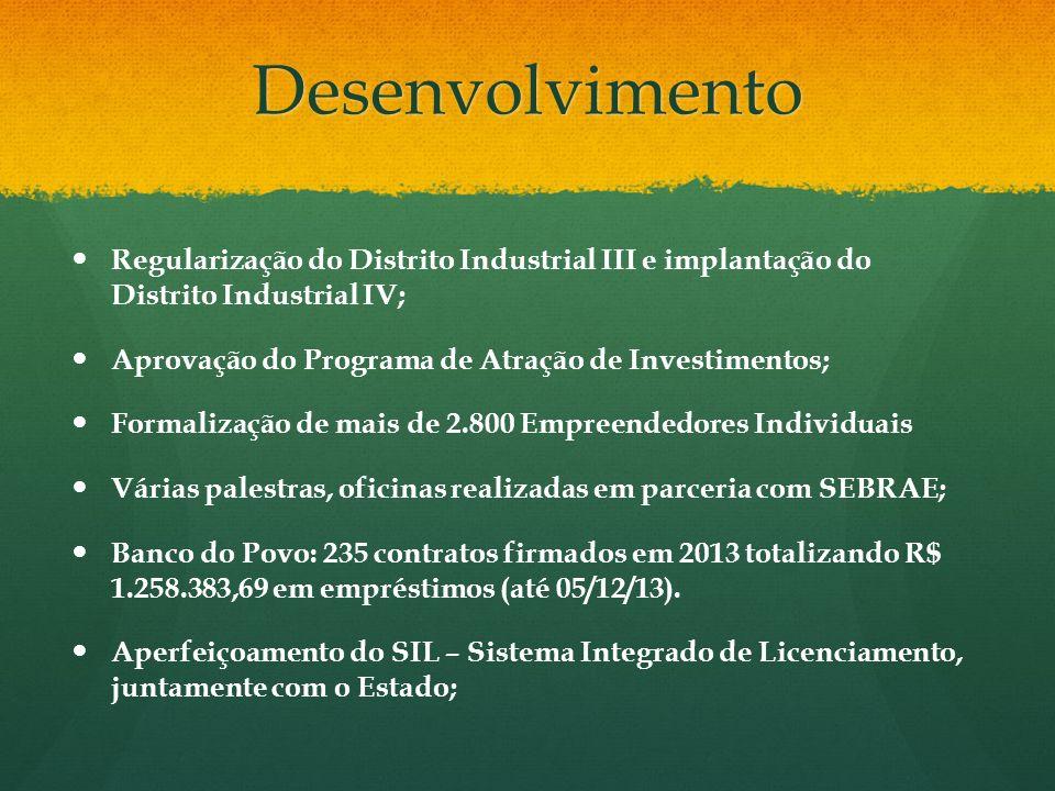 DesenvolvimentoRegularização do Distrito Industrial III e implantação do Distrito Industrial IV; Aprovação do Programa de Atração de Investimentos;
