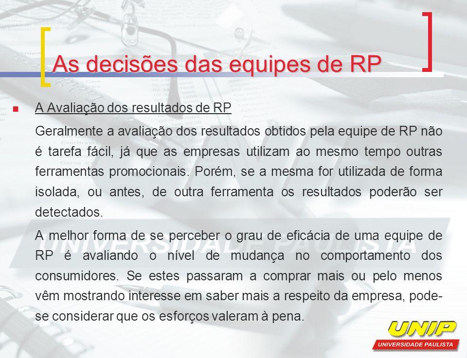 As decisões das equipes de RP