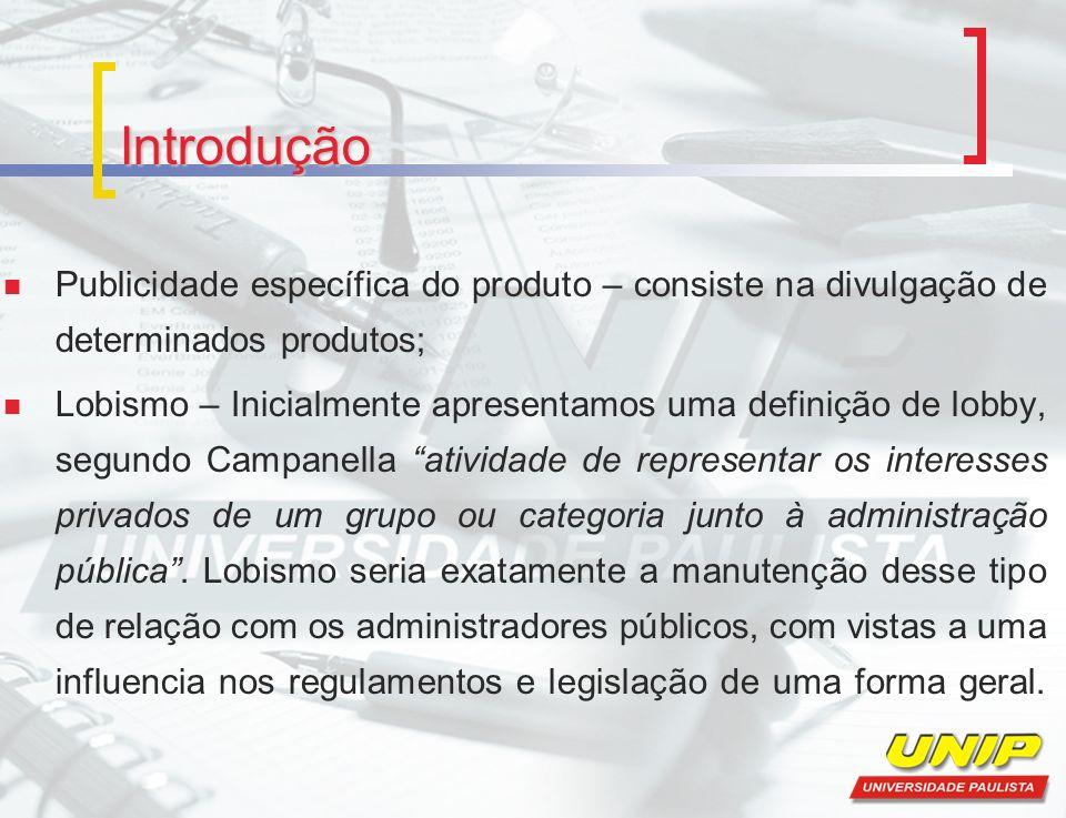 Introdução Publicidade específica do produto – consiste na divulgação de determinados produtos;