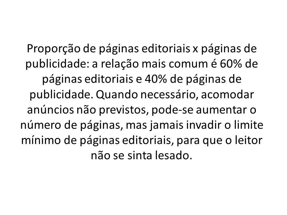 Proporção de páginas editoriais x páginas de publicidade: a relação mais comum é 60% de páginas editoriais e 40% de páginas de publicidade.