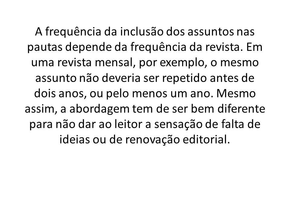A frequência da inclusão dos assuntos nas pautas depende da frequência da revista.