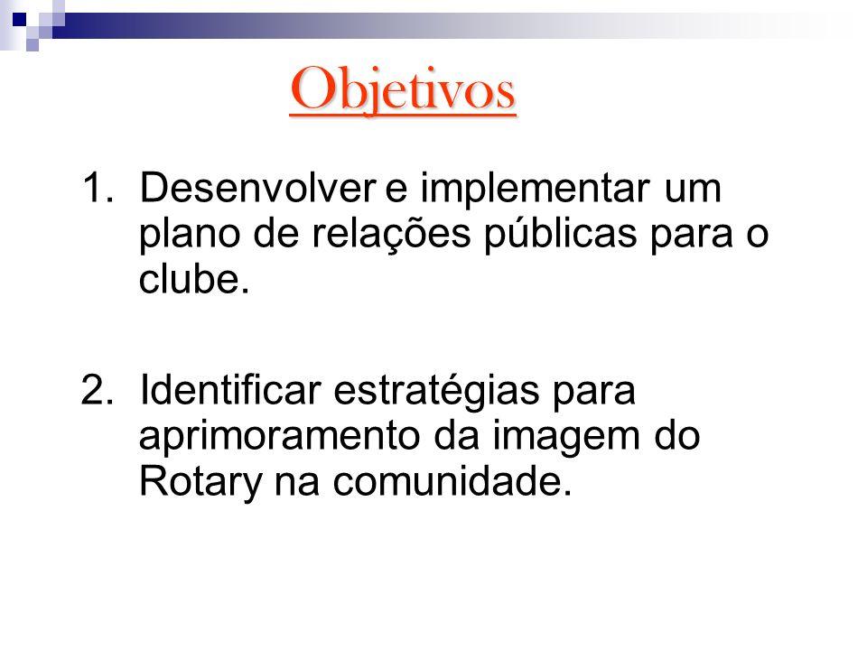 Objetivos 1. Desenvolver e implementar um plano de relações públicas para o clube.