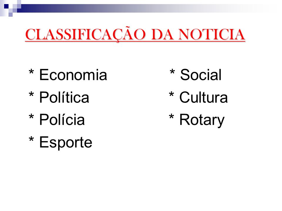 CLASSIFICAÇÃO DA NOTICIA