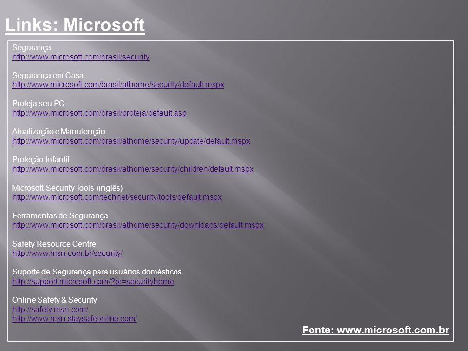 Links: Microsoft Fonte: www.microsoft.com.br