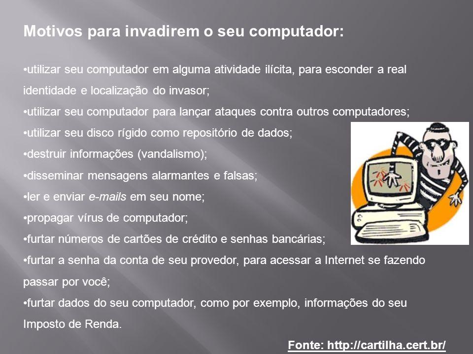 Motivos para invadirem o seu computador: