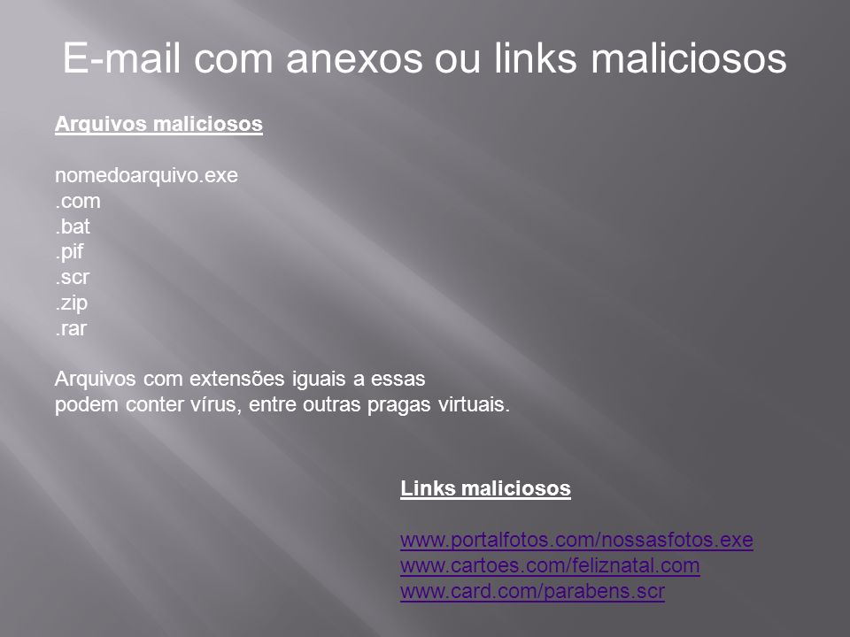 E-mail com anexos ou links maliciosos