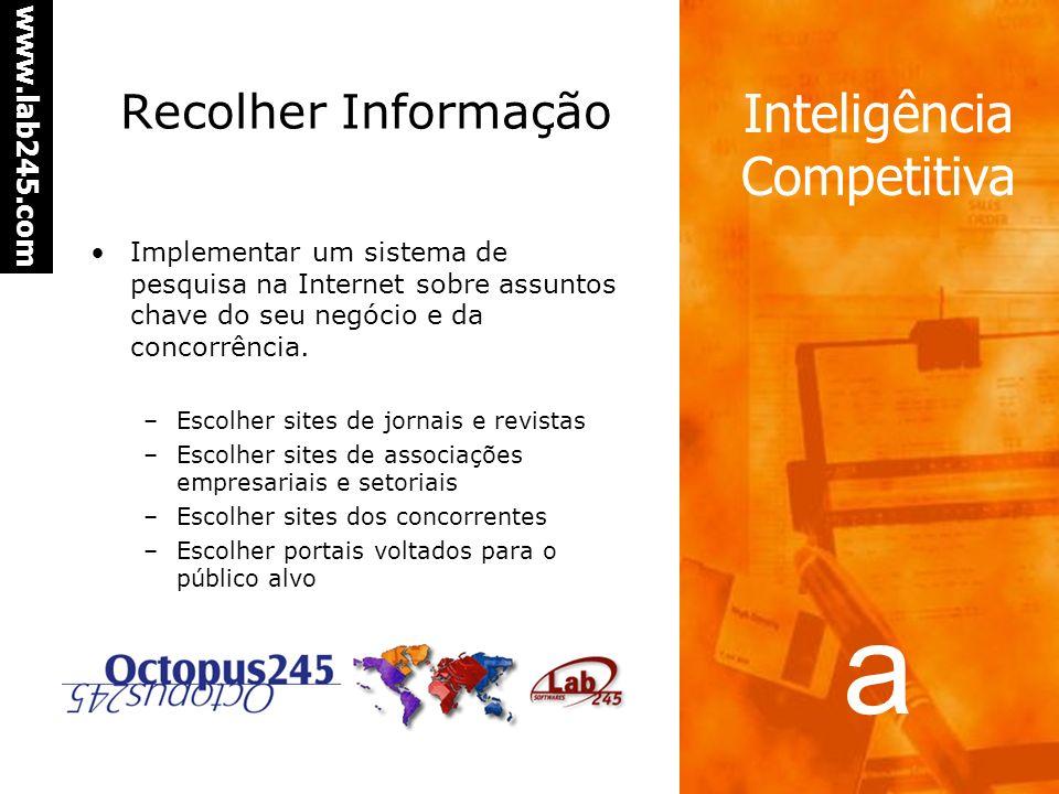 Recolher Informação Implementar um sistema de pesquisa na Internet sobre assuntos chave do seu negócio e da concorrência.