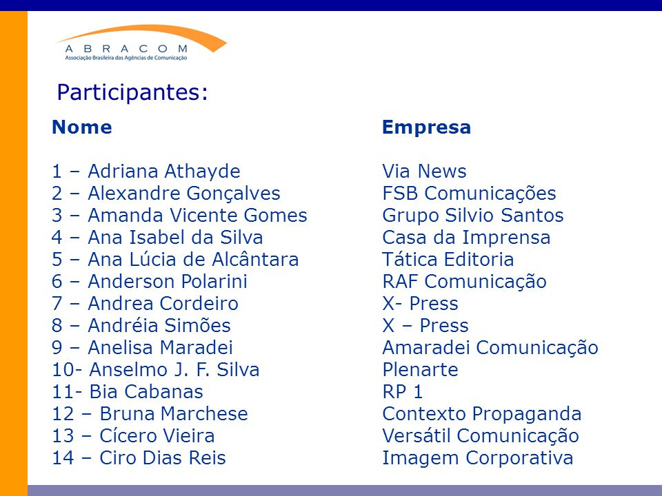 Participantes: Nome Empresa 1 – Adriana Athayde Via News