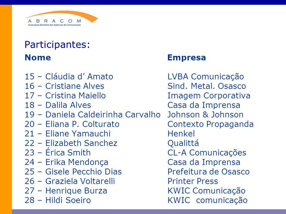 Participantes: Nome Empresa 15 – Cláudia d' Amato LVBA Comunicação