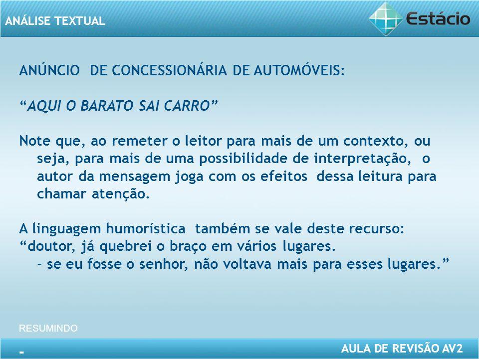 ANÚNCIO DE CONCESSIONÁRIA DE AUTOMÓVEIS: AQUI O BARATO SAI CARRO