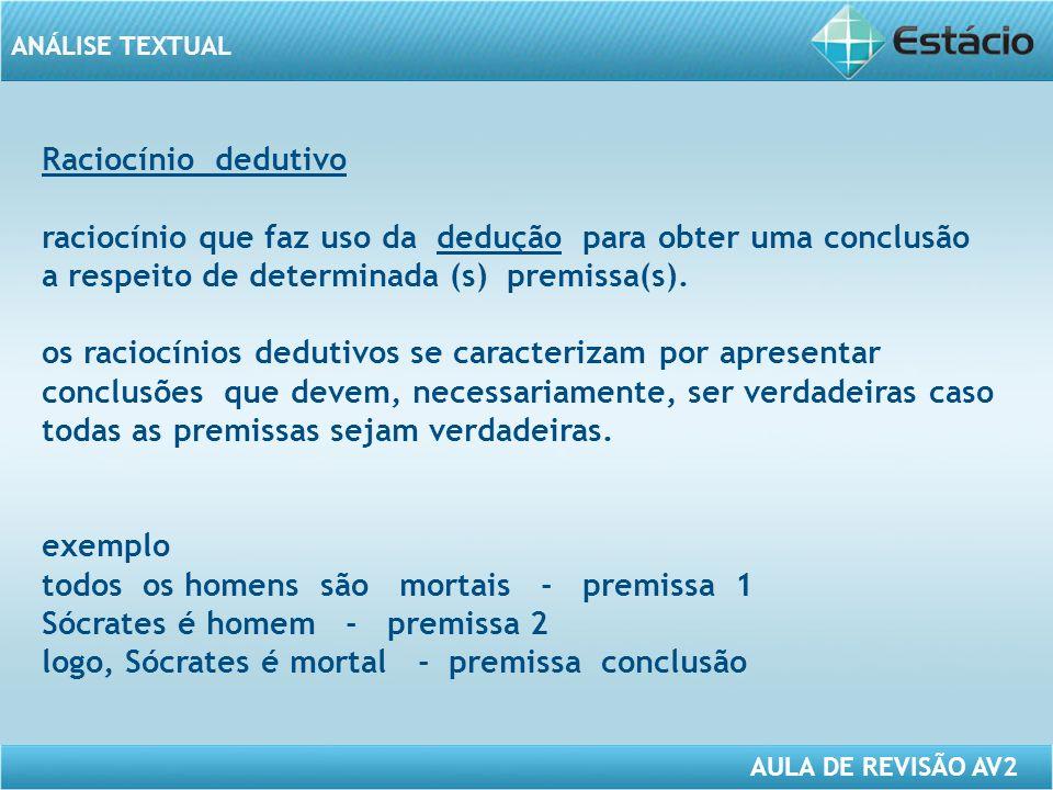 Raciocínio dedutivo raciocínio que faz uso da dedução para obter uma conclusão a respeito de determinada (s) premissa(s).