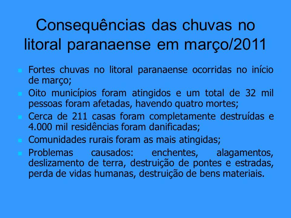 Consequências das chuvas no litoral paranaense em março/2011