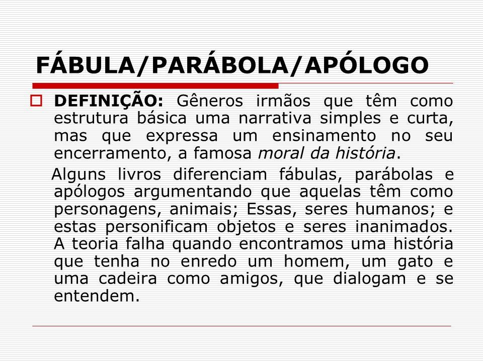FÁBULA/PARÁBOLA/APÓLOGO