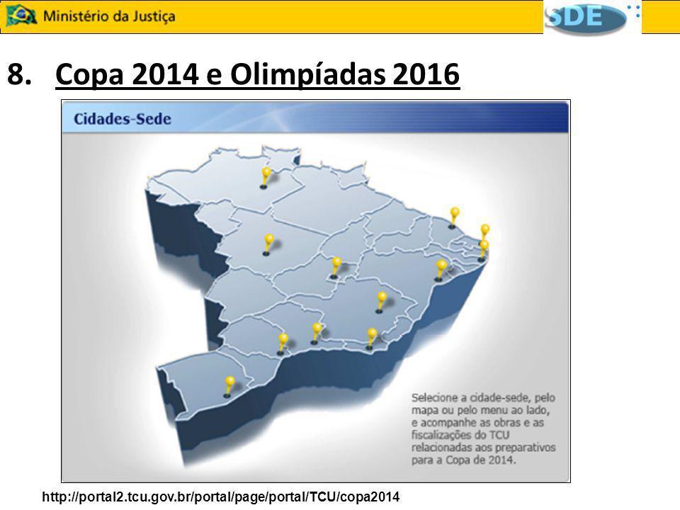 8. Copa 2014 e Olimpíadas 2016 http://portal2.tcu.gov.br/portal/page/portal/TCU/copa2014 9