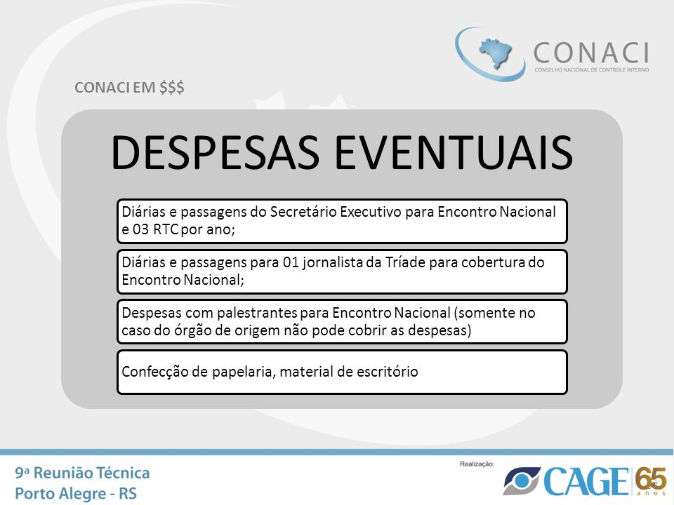 CONACI EM $$$ DESPESAS EVENTUAIS