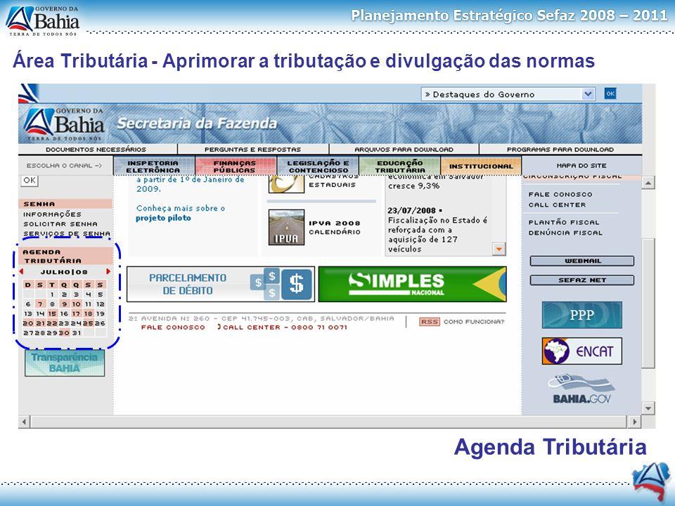 Área Tributária - Aprimorar a tributação e divulgação das normas