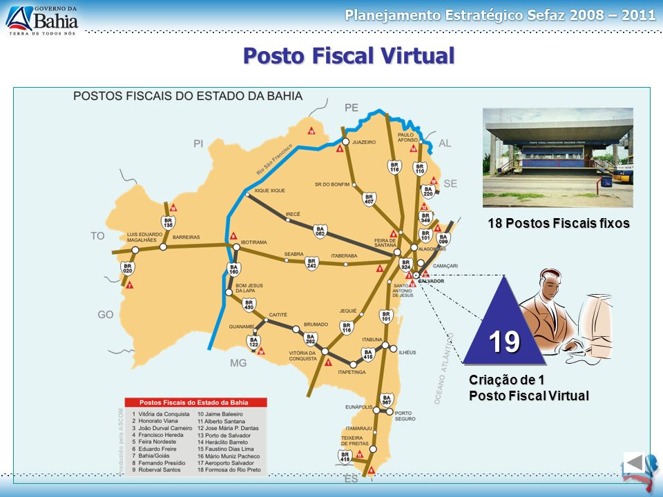 19 Posto Fiscal Virtual 18 Postos Fiscais fixos Criação de 1