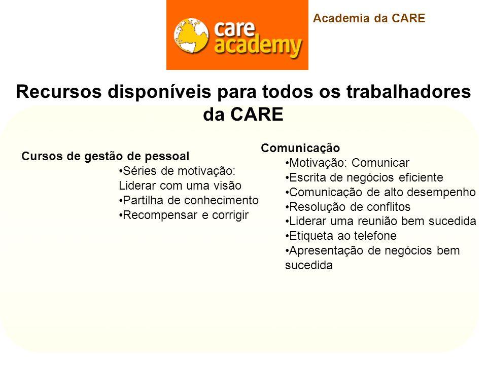 Recursos disponíveis para todos os trabalhadores da CARE