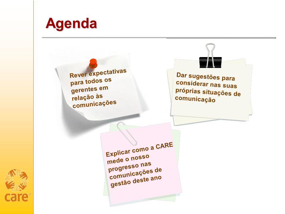 Agenda Rever expectativas para todos os gerentes em relação às comunicações.