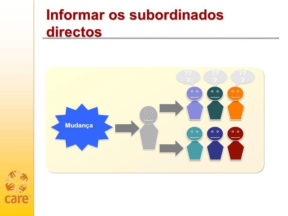 Informar os subordinados directos