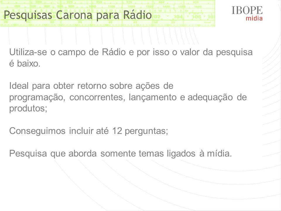 Pesquisas Carona para Rádio