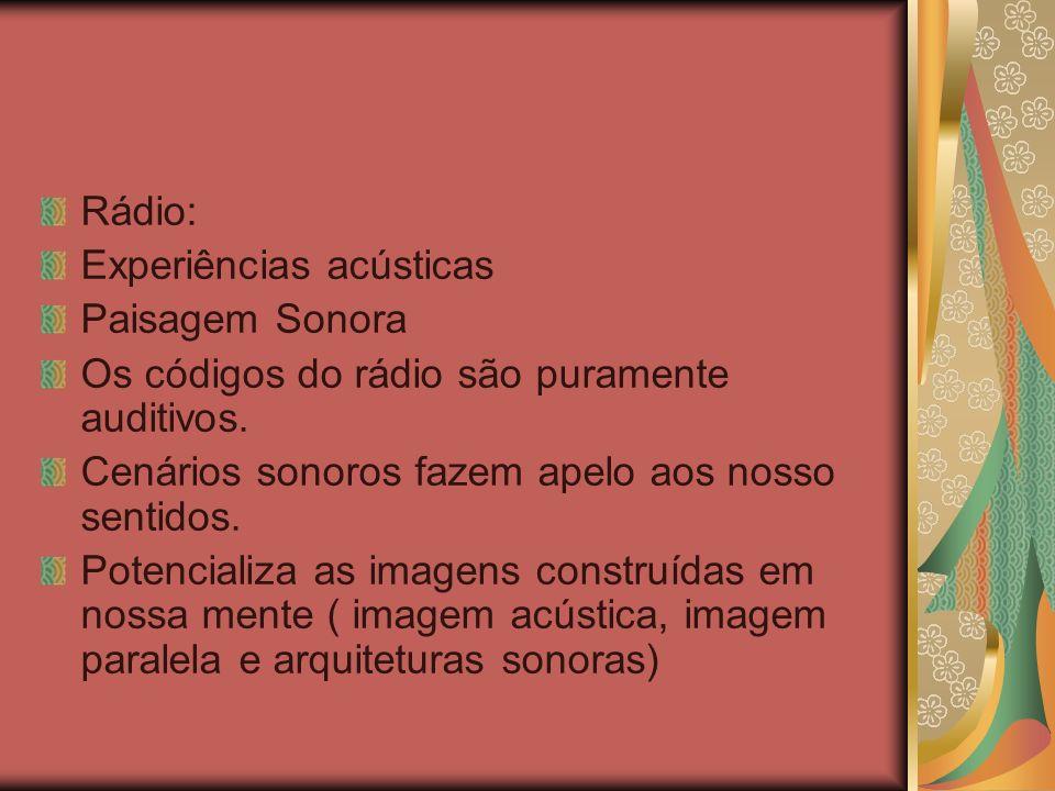 Rádio: Experiências acústicas. Paisagem Sonora. Os códigos do rádio são puramente auditivos. Cenários sonoros fazem apelo aos nosso sentidos.