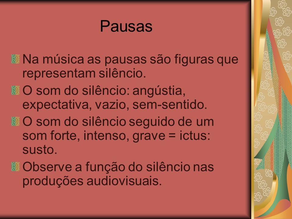 Pausas Na música as pausas são figuras que representam silêncio.