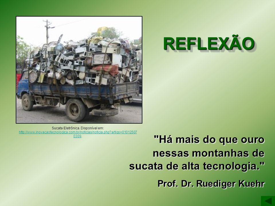 REFLEXÃO Há mais do que ouro nessas montanhas de sucata de alta tecnologia. Prof. Dr. Ruediger Kuehr.
