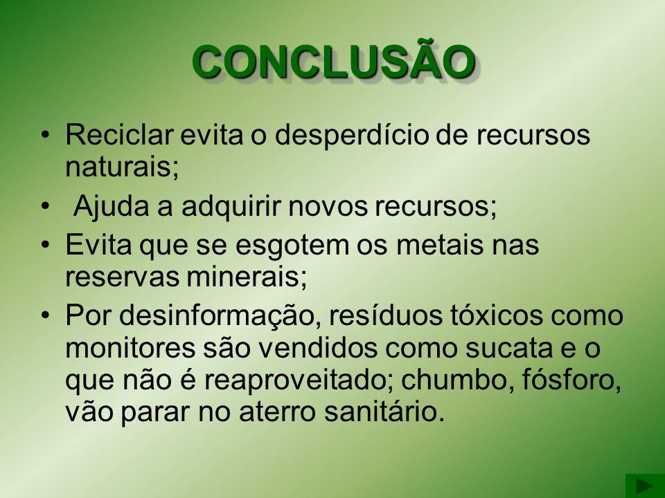 CONCLUSÃO Reciclar evita o desperdício de recursos naturais;