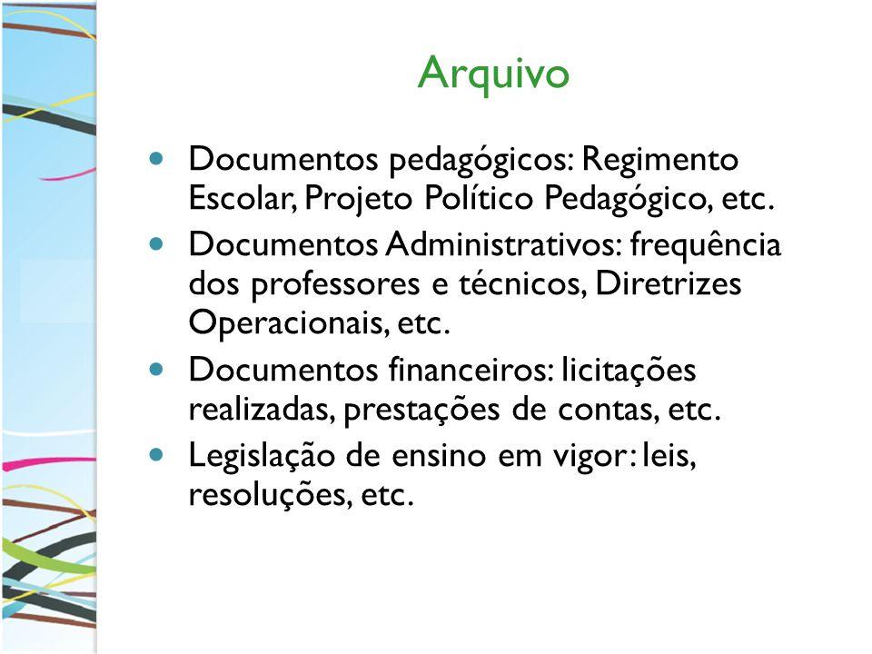 Arquivo Documentos pedagógicos: Regimento Escolar, Projeto Político Pedagógico, etc.