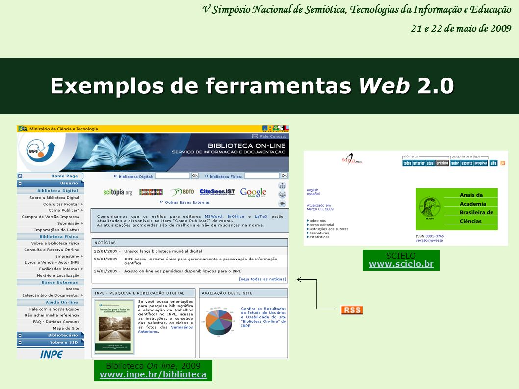 Exemplos de ferramentas Web 2.0