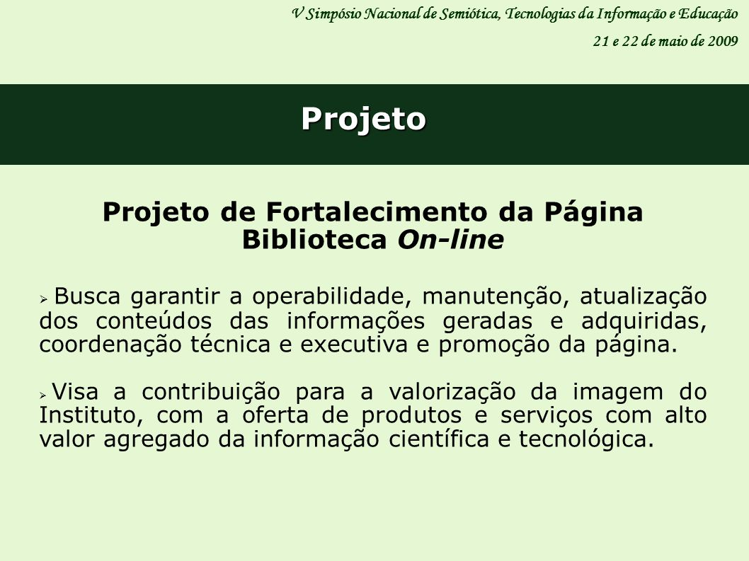 Projeto de Fortalecimento da Página