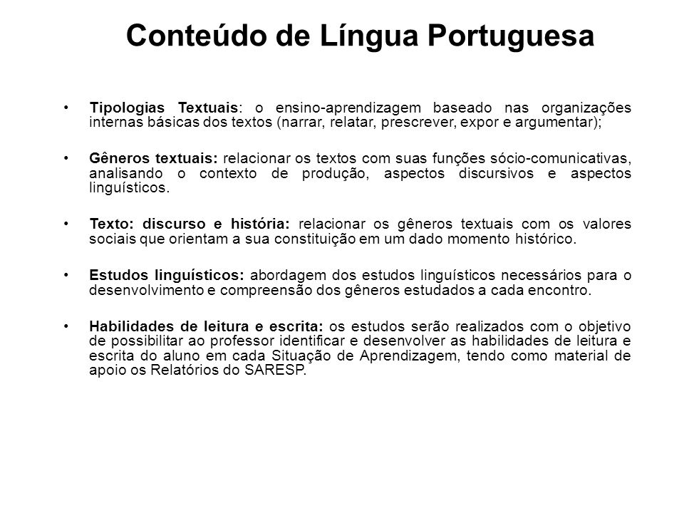 Conteúdo de Língua Portuguesa