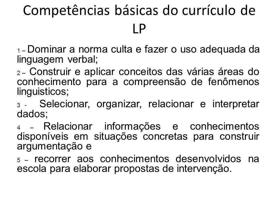 Competências básicas do currículo de LP