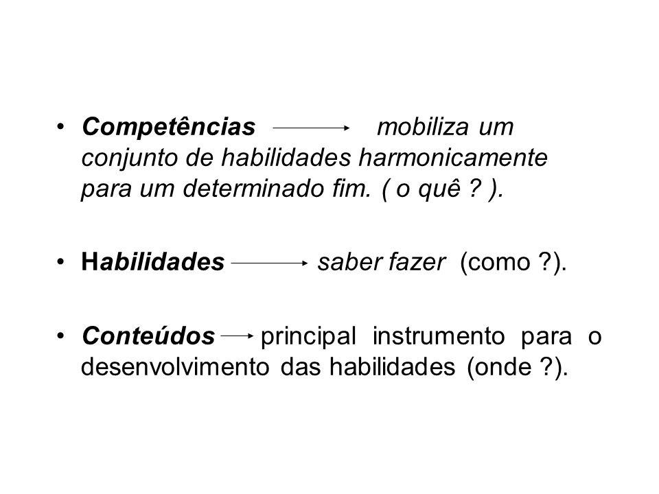 Competências mobiliza um conjunto de habilidades harmonicamente para um determinado fim. ( o quê ).