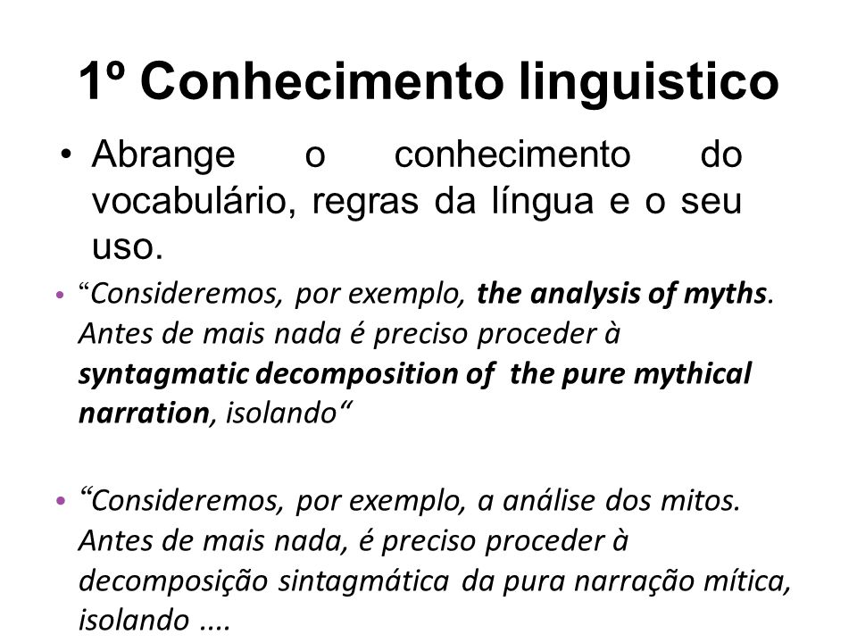 1º Conhecimento linguistico