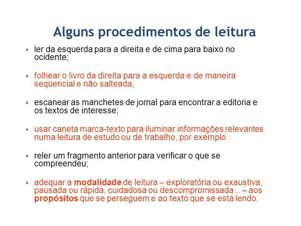 Alguns procedimentos de leitura