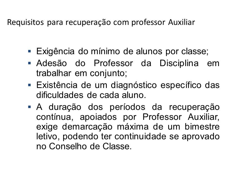 Requisitos para recuperação com professor Auxiliar