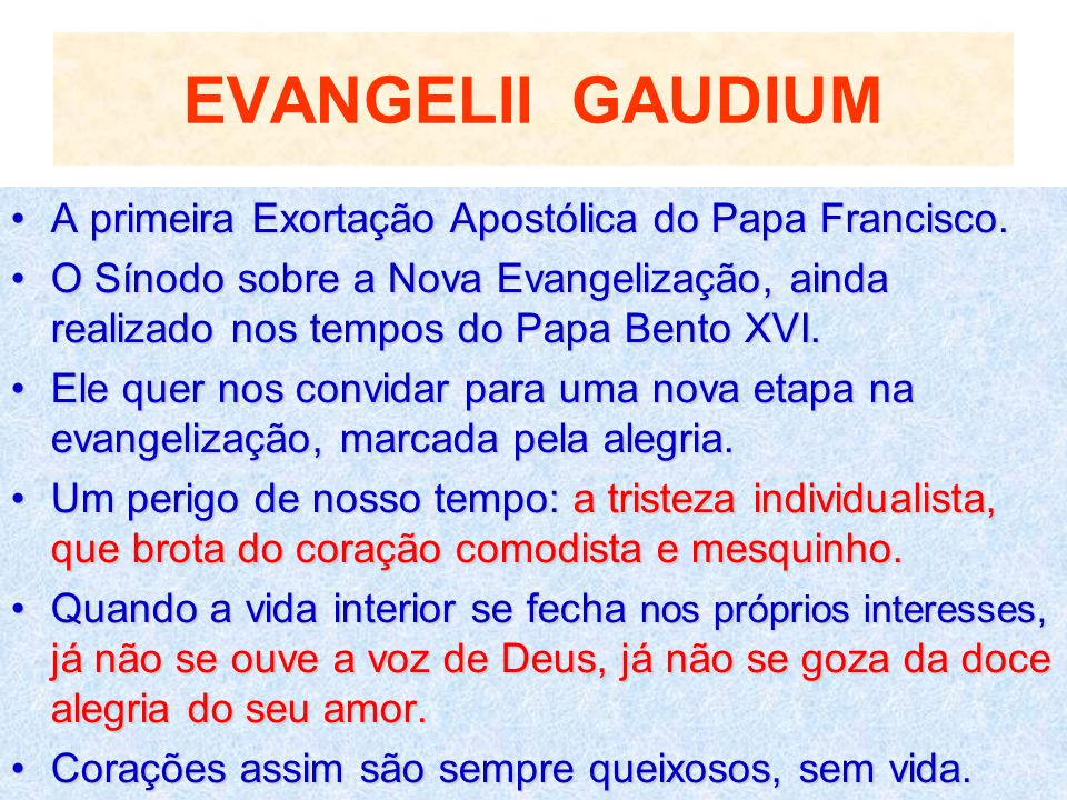 EVANGELII GAUDIUM A primeira Exortação Apostólica do Papa Francisco.