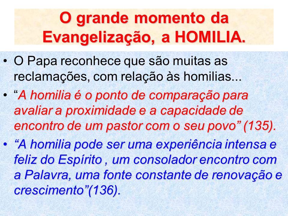 O grande momento da Evangelização, a HOMILIA.