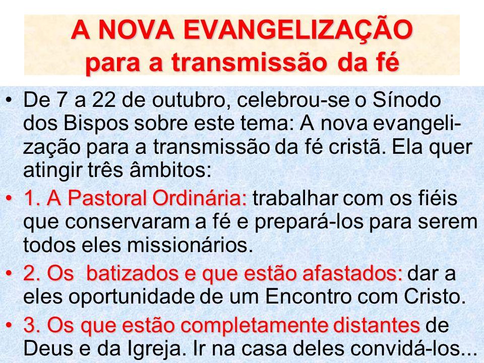 A NOVA EVANGELIZAÇÃO para a transmissão da fé