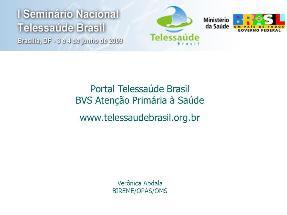 Portal Telessaúde Brasil BVS Atenção Primária à Saúde