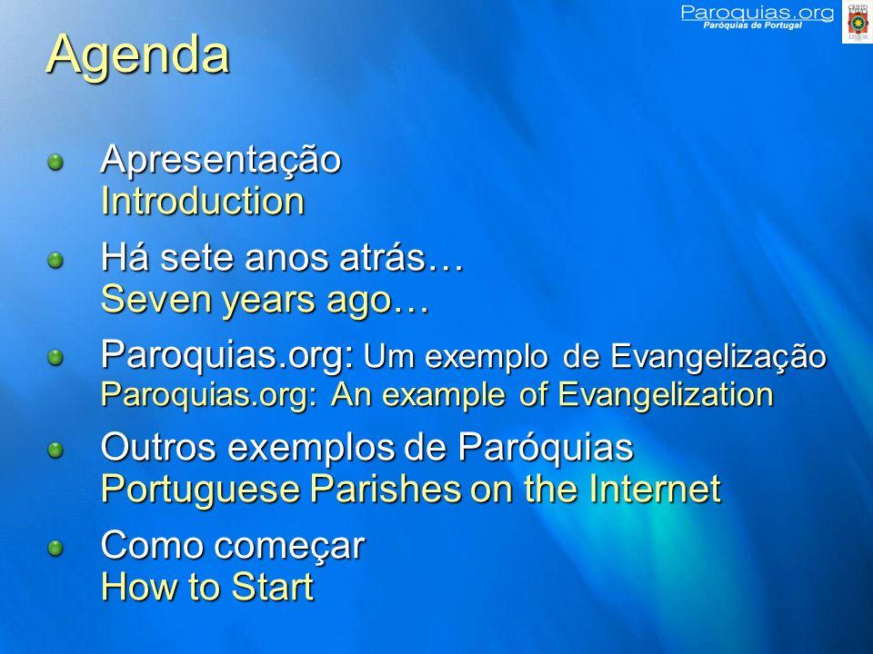 Agenda Apresentação Introduction Há sete anos atrás… Seven years ago…