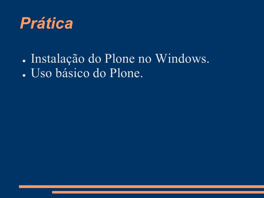 Prática Instalação do Plone no Windows. Uso básico do Plone.