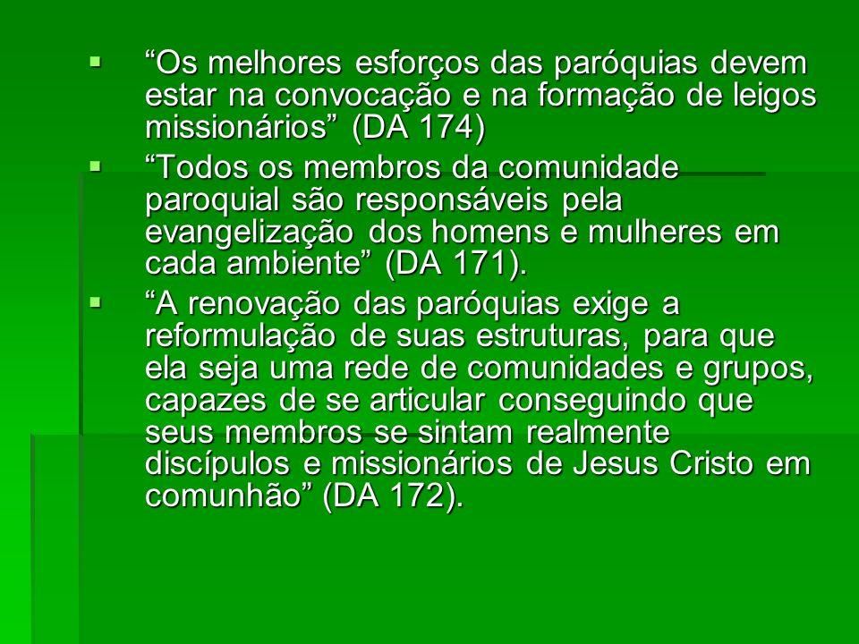 Os melhores esforços das paróquias devem estar na convocação e na formação de leigos missionários (DA 174)