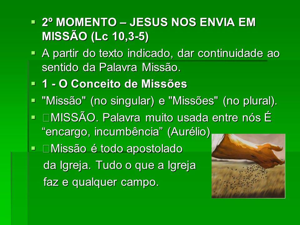 2º MOMENTO – JESUS NOS ENVIA EM MISSÃO (Lc 10,3-5)