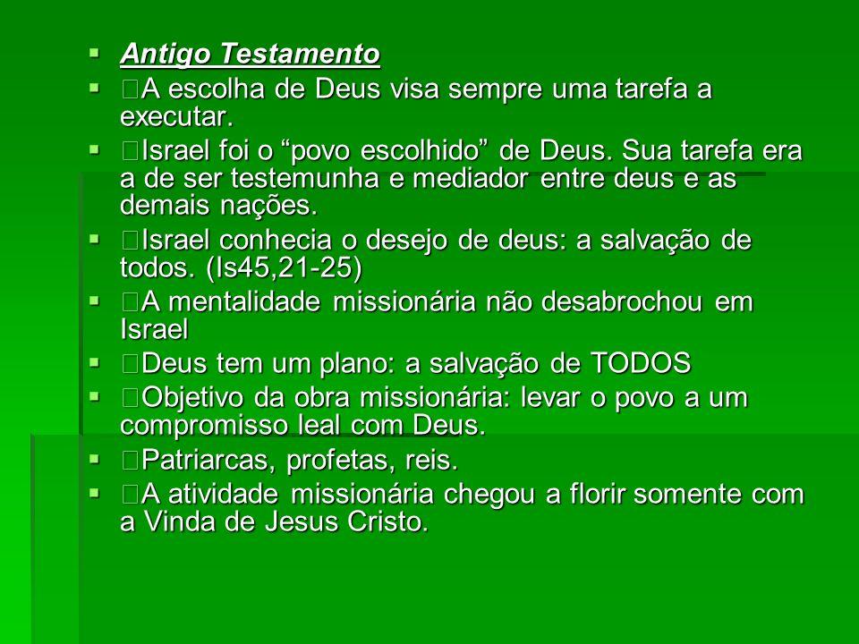 Antigo Testamento A escolha de Deus visa sempre uma tarefa a executar.