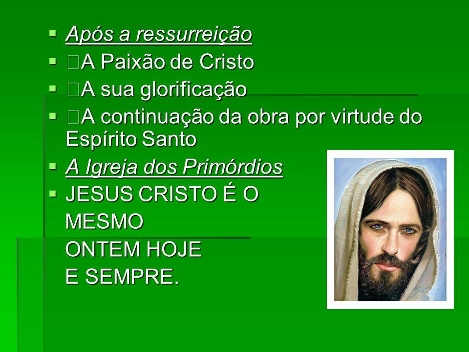 Após a ressurreição A Paixão de Cristo. A sua glorificação. A continuação da obra por virtude do Espírito Santo.